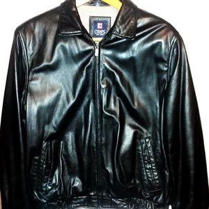 Chaps Ralph Lauren Black Leather Jacket Sz Medium